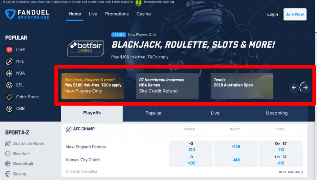 FanDuel Home Page Promotions