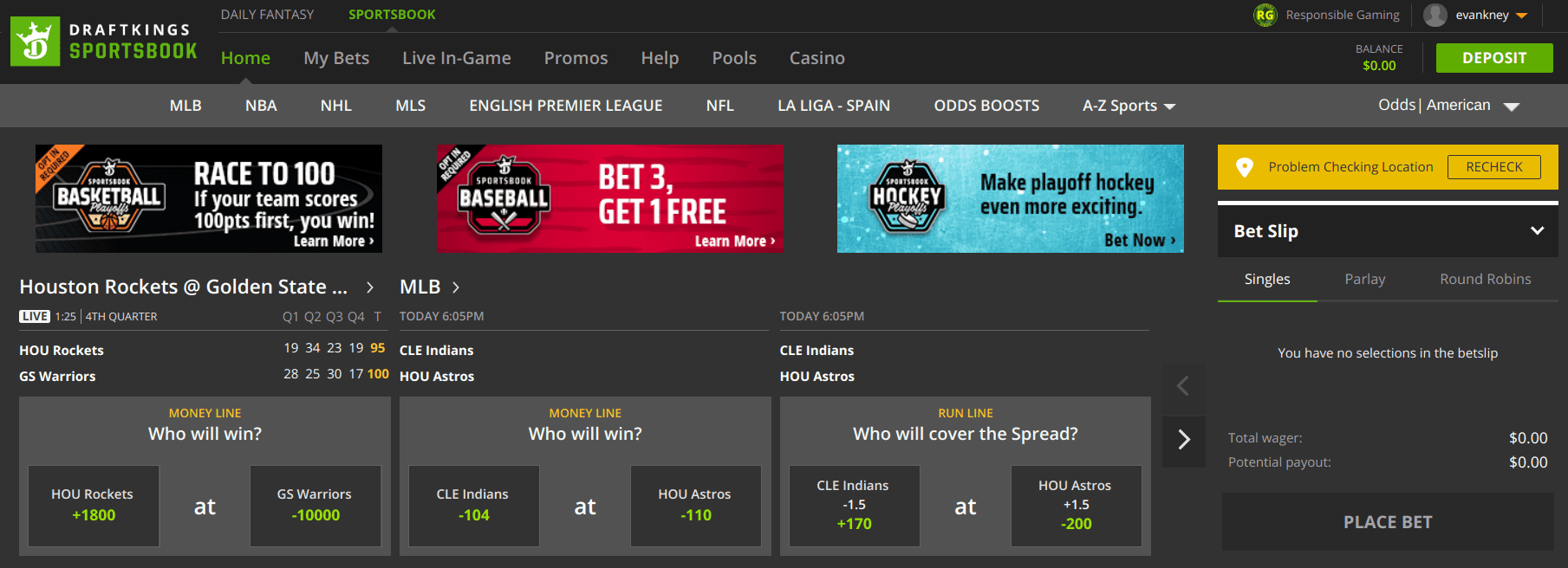 DraftKings Sportsbook Home