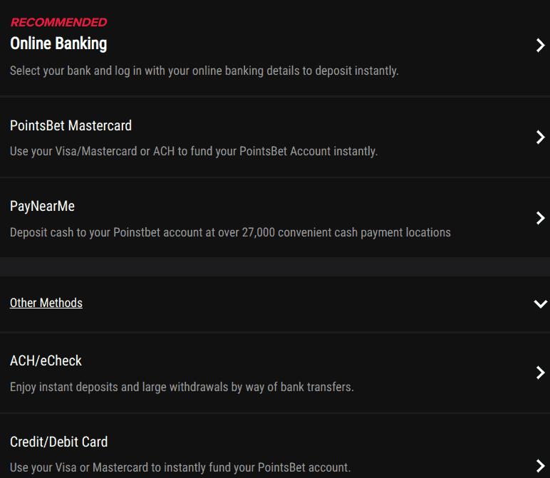 PointsBet Deposit Methods
