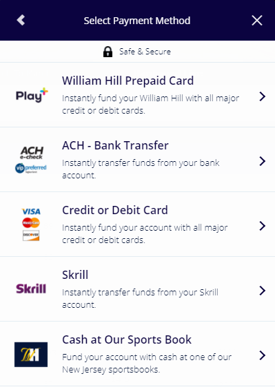 William Hill Deposit Withdrawal